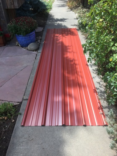 A couple sheets of metal roofing